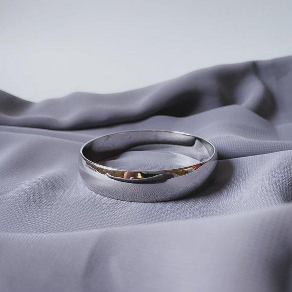 Vintage Monet Wide Chic Silver Bangle Bracelet